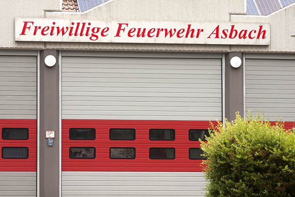 Feuerwehr Asbach im Einsatz.