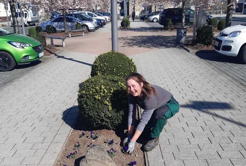 Bauhof pflanzt Blumen in der Verbandsgemeinde