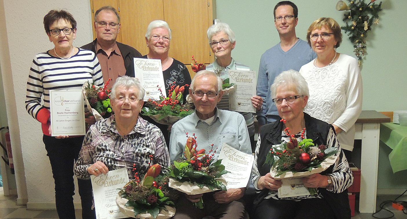 S�ngervereinigung Ingelbach ehrte langj�hrige Mitglieder