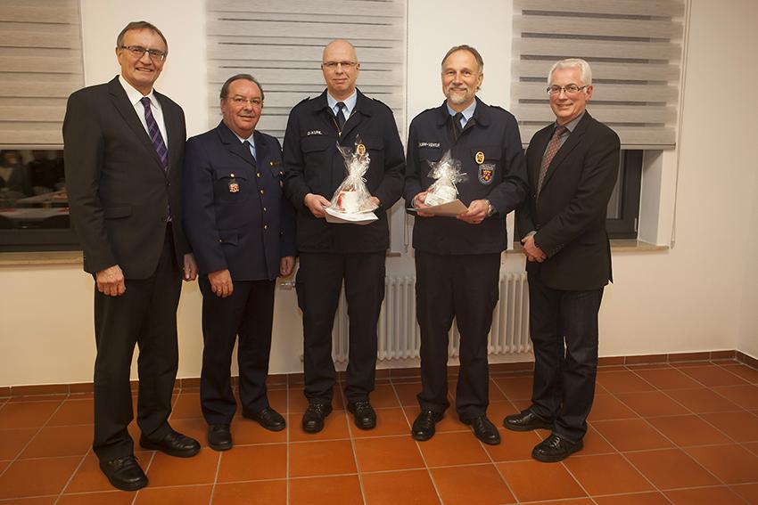 Rainer Kaul, Werner Böcking, Dirk Kuhl, Dieter Klein-Ventur und Volker Mendel (von links). Fotos: Feuerwehr VG Puderbach