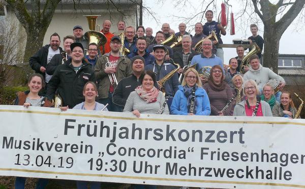 """Der Musikverein """"Concordia"""" Friesenhagen lädt zum Frühjahrskonzert am 13. April um 19.30 Uhr in die Mehrzweckhalle in Friesenhagen ein. (Foto: """"Concordia"""" Friesenhagen)"""