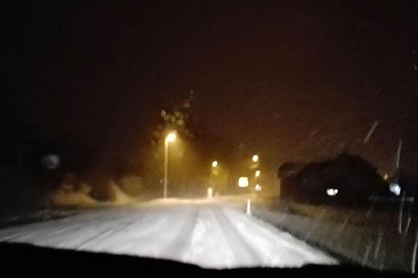 Verkehrsbehinderungen durch starken Schneefall