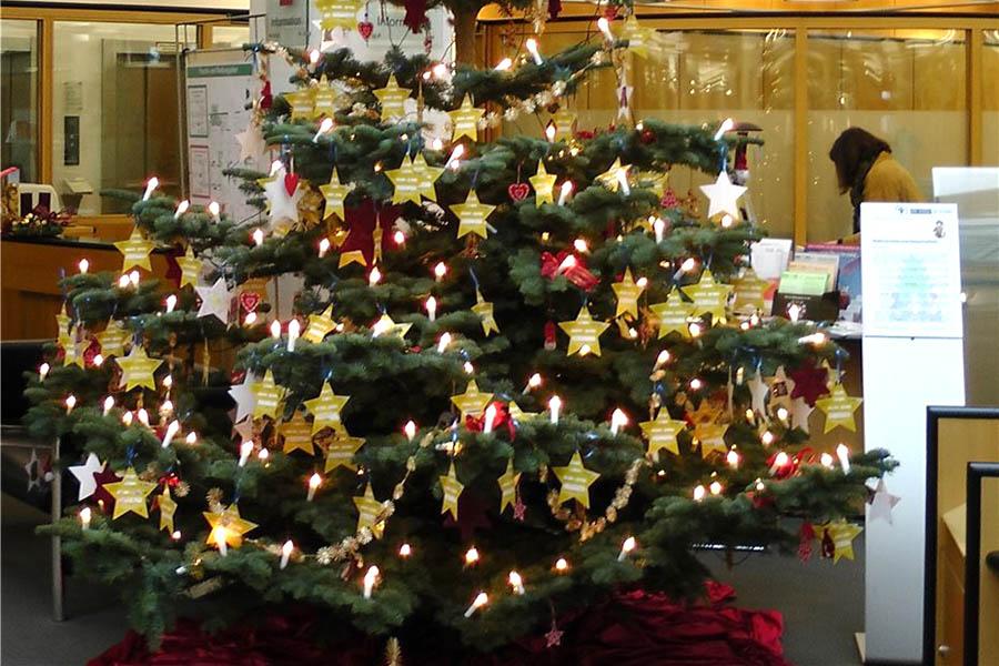 Weihnachtswunschbäume stehen in Neuwied und Unkel