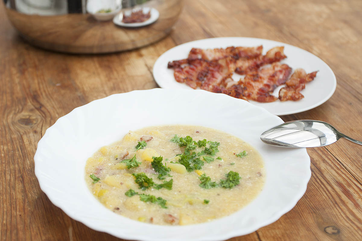 Westerwälder Rezepte: Lauch-Kartoffel-Suppe mit Speck
