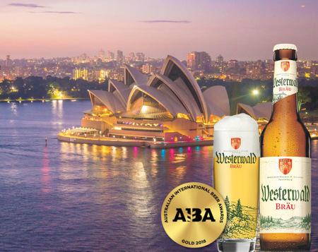 Gold für das Westerwald Bräu gibt es in Australien. (Foto/Montage: Westerwald-Brauerei)