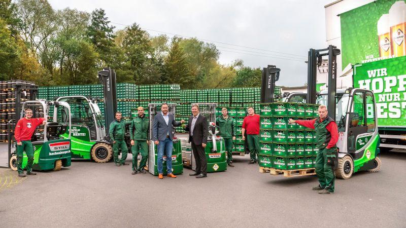 Elektrisch betriebene Gabelstapler im Fuhrpark der Westerwald-Brauerei. Foto: privat
