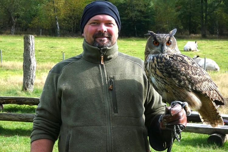 """Uhu """"Hugo"""" ist der Star bei der Greifvogelschau im Tierpark Niederfischbach"""