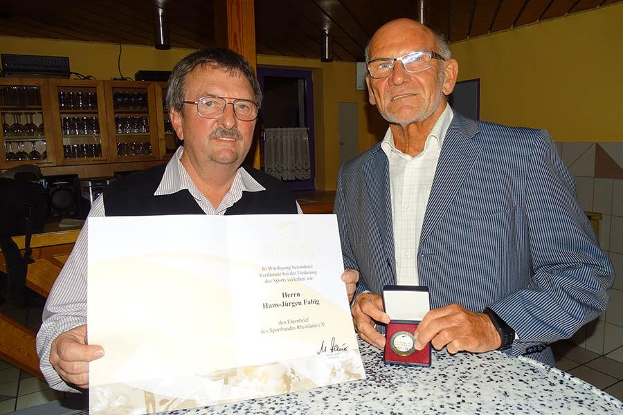 Hans-Jürgen Fabig erhält Ehrenbrief des Sportbundes Rheinland