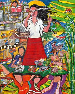 """Das Titelbild zum Weltgebetstag 2017 mit Bildtitel """"A Glimpse of the Philippine Situation"""" von der philippinischen Künstlerin Rowena Apol Laxamana Sta Rosa. Foto: © Weltgebetstag der Frauen – Deutsches Komitee e.V."""