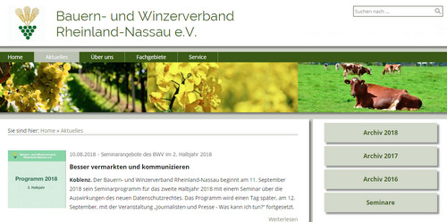 Der Bauern- und Winzerverband Rheinland-Nassau stellt sein Seminarprogramm für das zweite Halbjahr 2018 vor. (Screenshot: www.bwv-net.de)