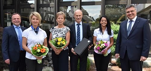 Im Bild von links: Vorstandsmitglied Dieter Stricker, Simone Utsch, Susanne Schmidt, Uli Meyer, Serap Can, und Vorstandsmitglied Hans-Joachim Buchen. Foto: Voba