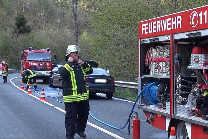 Feuerwehr Kleinmaischeid im Einsatz bei einem Fahrzeugbrand. Archivfoto: Wolfgang Tischler