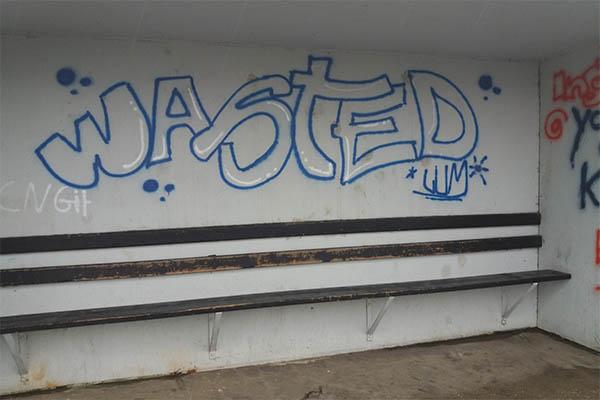 Graffiti-Schmierereien in Caan