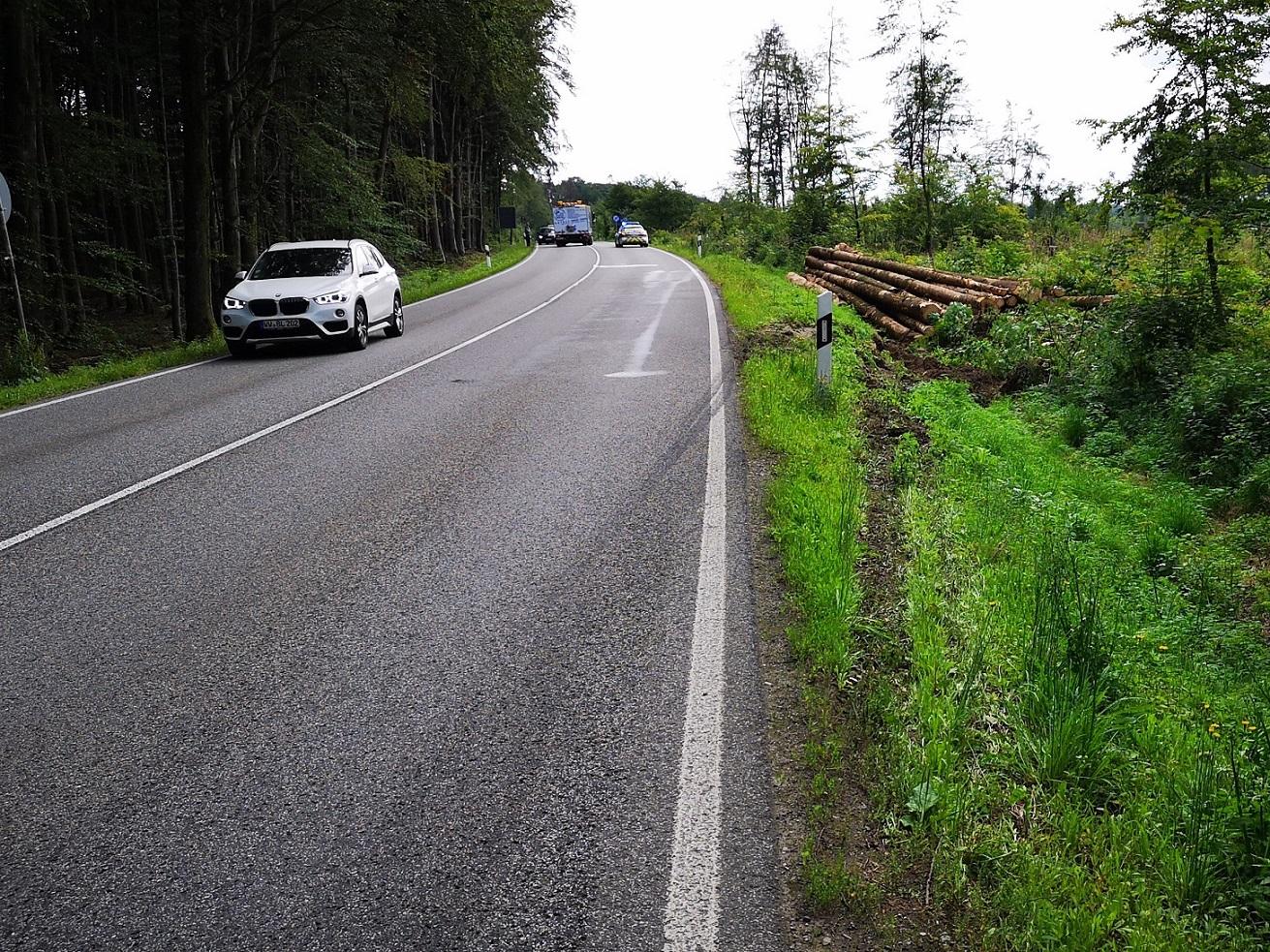Diese verlorene Ladung Holz sorgte für einen Stau im Feierabendverkehr. (Foto Uwe Schumann)