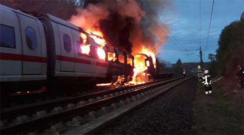 Auf der ICE-Strecke Köln-Frankfurt geriet ein ICE-Waggon in Brand. (Foto: privat)