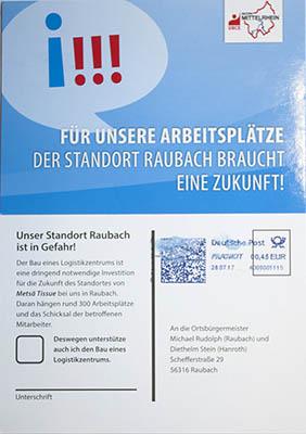 Kopie der Postkarte, die verschickt wird. Foto: Wolfgang Tischler