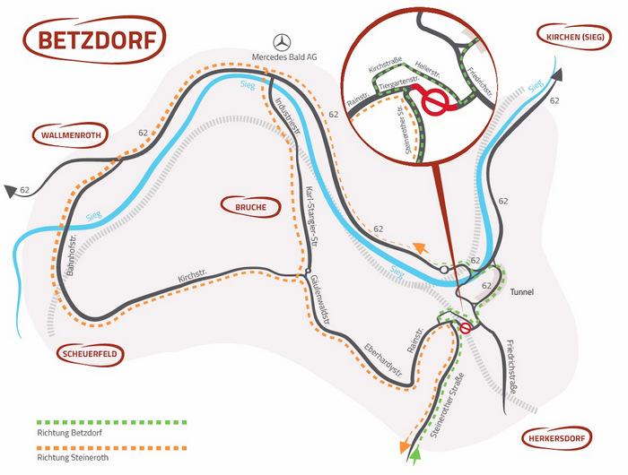 Brückenbaustelle Betzdorf: Neue Karte zeigt kurze Wege in die Innenstadt