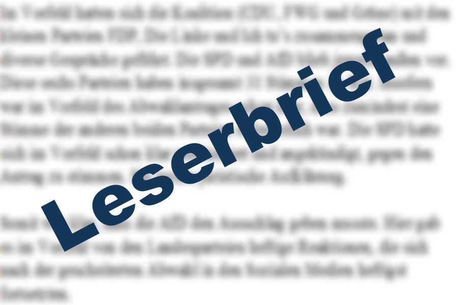 Leserbrief zu Rüddel-Kritik: Mit Gejammer ist niemandem geholfen