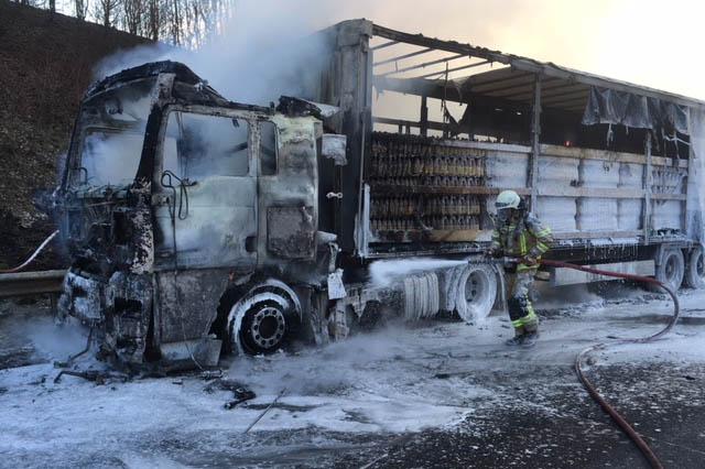 LKW brannte am Rastplatz Fernthal