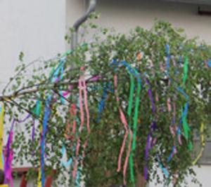 Traditionelles Maibaumaufstellen auf dem Dorfplatz