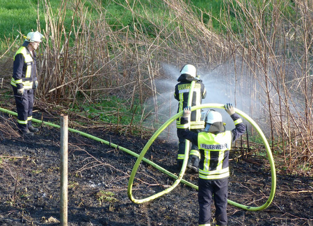 Flächenbrand am Siegufer in Etzbach gelöscht