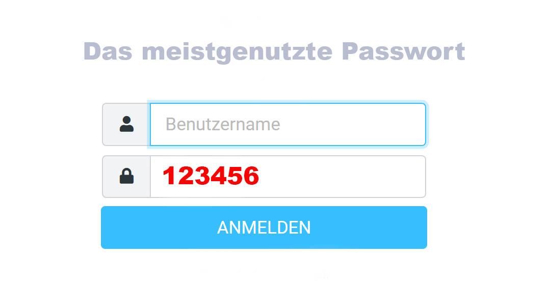 Dies ist das beliebteste und unsicherste Passwort. Grafik Wolfgang Tischler