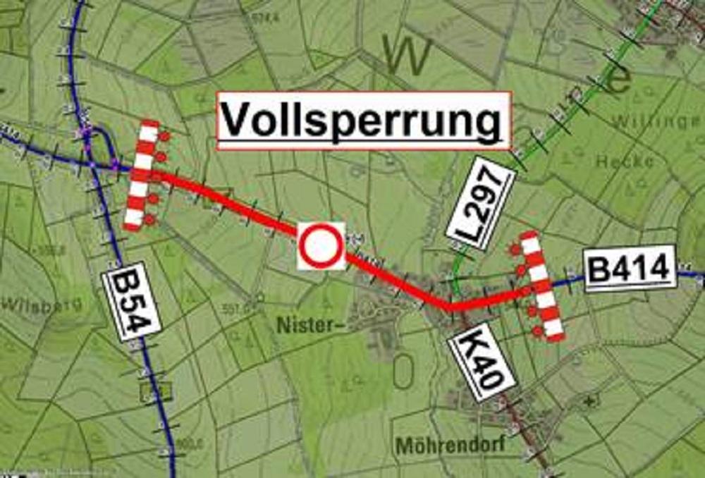 Vollsperrung auf der B414 zwischen Salzburg und Nister-Möhrendorf