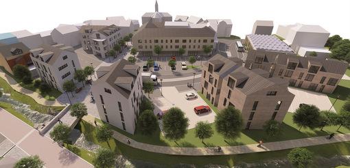 """Die Stadt Selters will mit dem """"Quartier Saynbachaue"""" städtebauliche Ideen umsetzen. (Visualisierung: Planungsbüro Stadt-Land-plus)"""