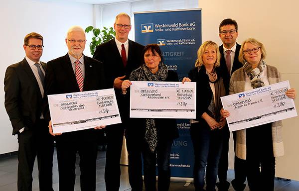 Westerwald Bank unterstützt drei soziale Einrichtungen in Region