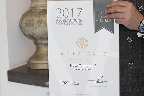 Hotel Tannenhof in Großmaischeid ausgezeichnet