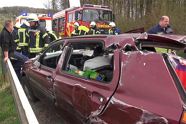Frau verletzt sich bei Unfall schwer