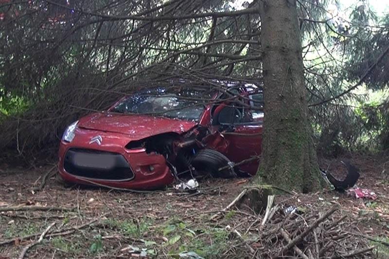 PKW-Fahrerin kommt von Straße ab und landet im Wald