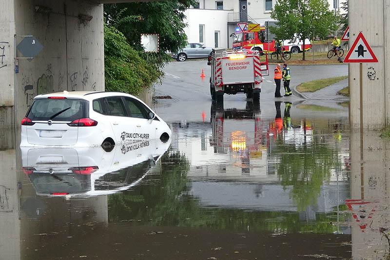 Starkregen führte zu mehreren Einsätzen der Polizei und Feuerwehr